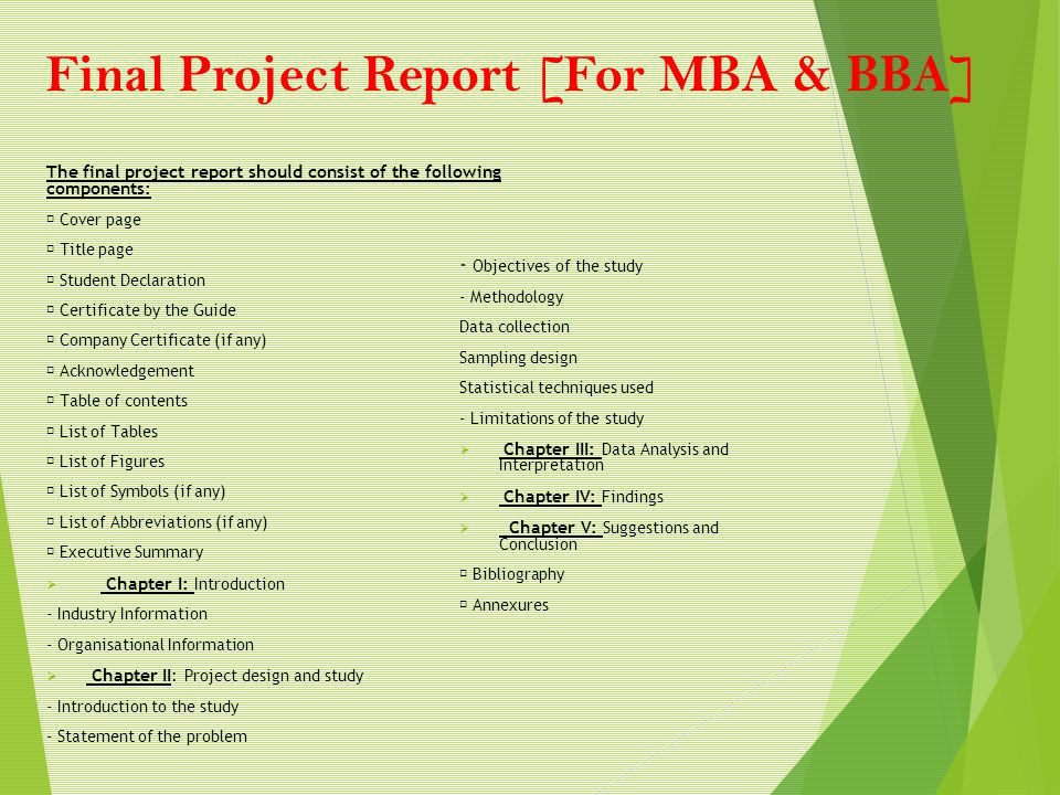 final ppt report bba The final report is due at the end of the semester a rubric for the grading process is included at the end of the syllabus 8 course feedback.